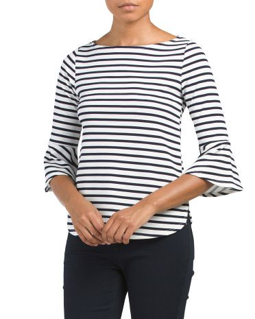 Made+In+Usa+Striped+Crepe+Top