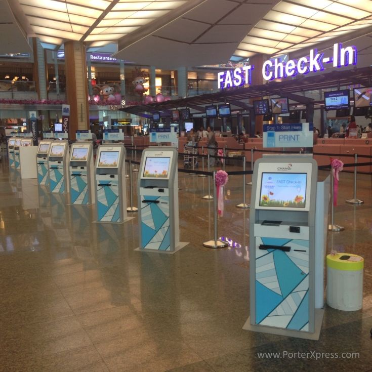 Changi Airport Terminal 2 Self Check In Kiosk At Departure Level Singapore Changi Airport Airports Terminal Check In Kiosk