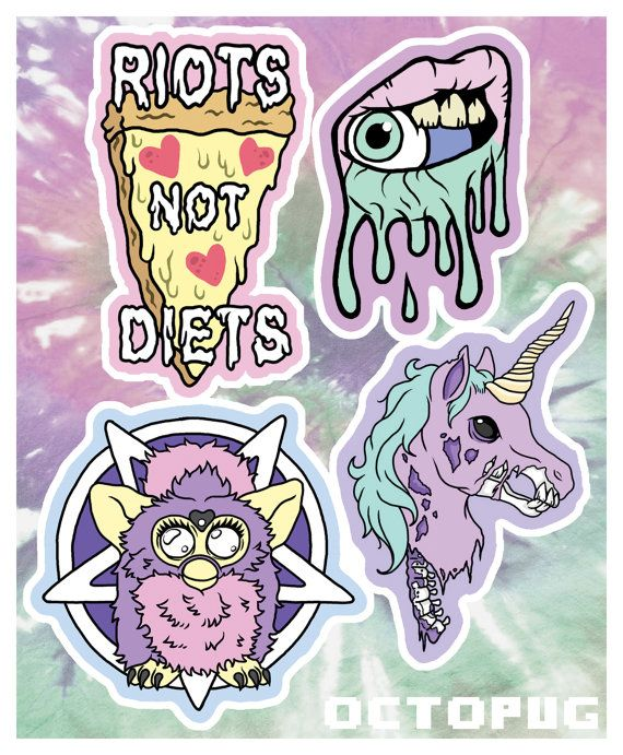 Creepy cute pastel grunge sticker or magnet 4 pack