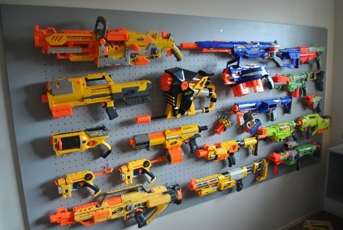 Nerf Gun Wall Storage I Think Im Going To Do This In My Sons Closet
