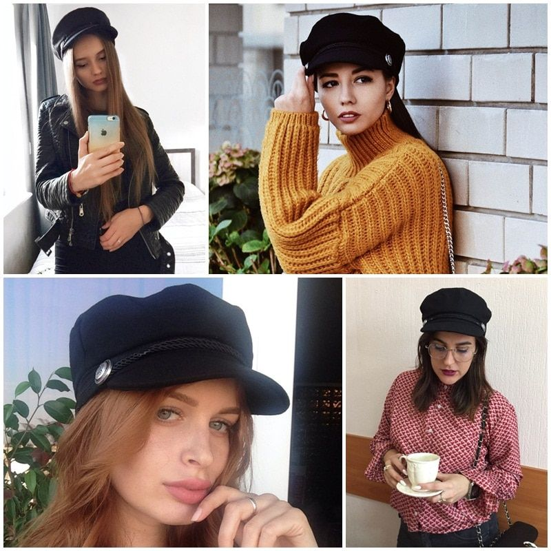 9b41c5e6ed5cb Beret women s newsboy caps Octagonal Cap in black and grey. womens punk  fashion cap. These cadet newsboy caps look is back. This paperboy hat has  been worn ...