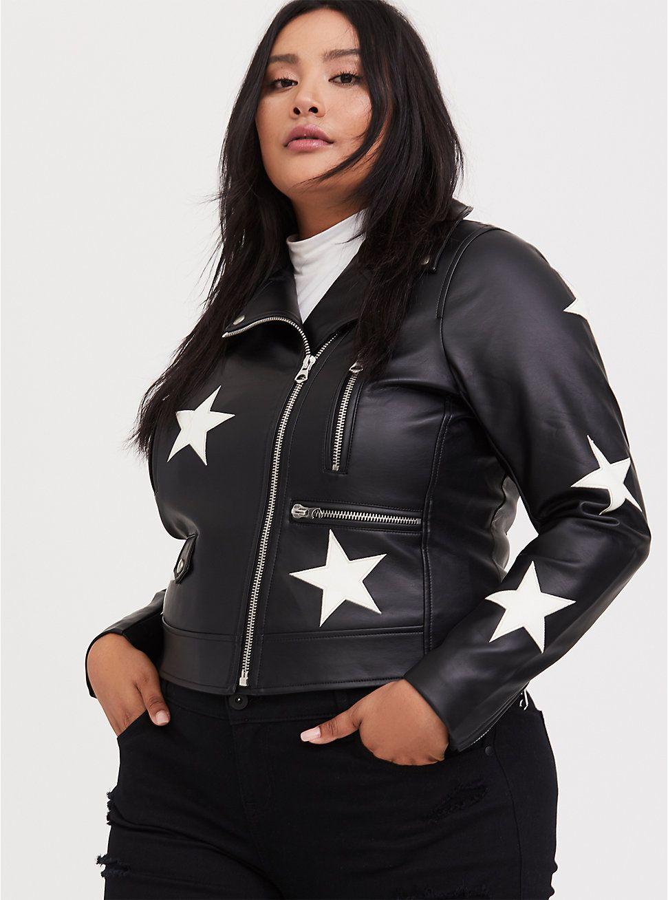 Black Faux Leather & White Star Moto Jacket Faux fur