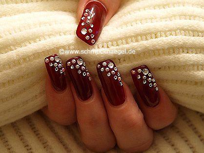 Uñas Decoradas Con Perlas Medias Y Piedras Strass Red