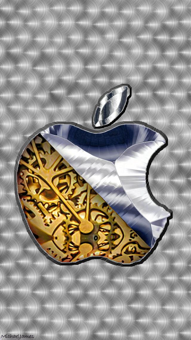 Gears & Brushed Steel Apple Logo 640 x 1136 Wallpapers