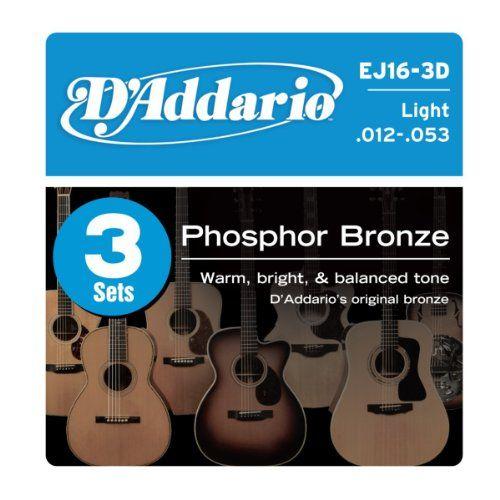 Amazon Com D Addario Ej16 3d Phosphor Bronze Acoustic Guitar Strings Light 3 Sets Musical Instruments Acoustic Guitar Strings D Addario Guitar