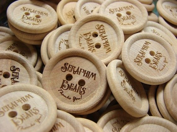 Personalised 20mm Buttons WoodenCustom Birch Wood ButtonsAdd any text