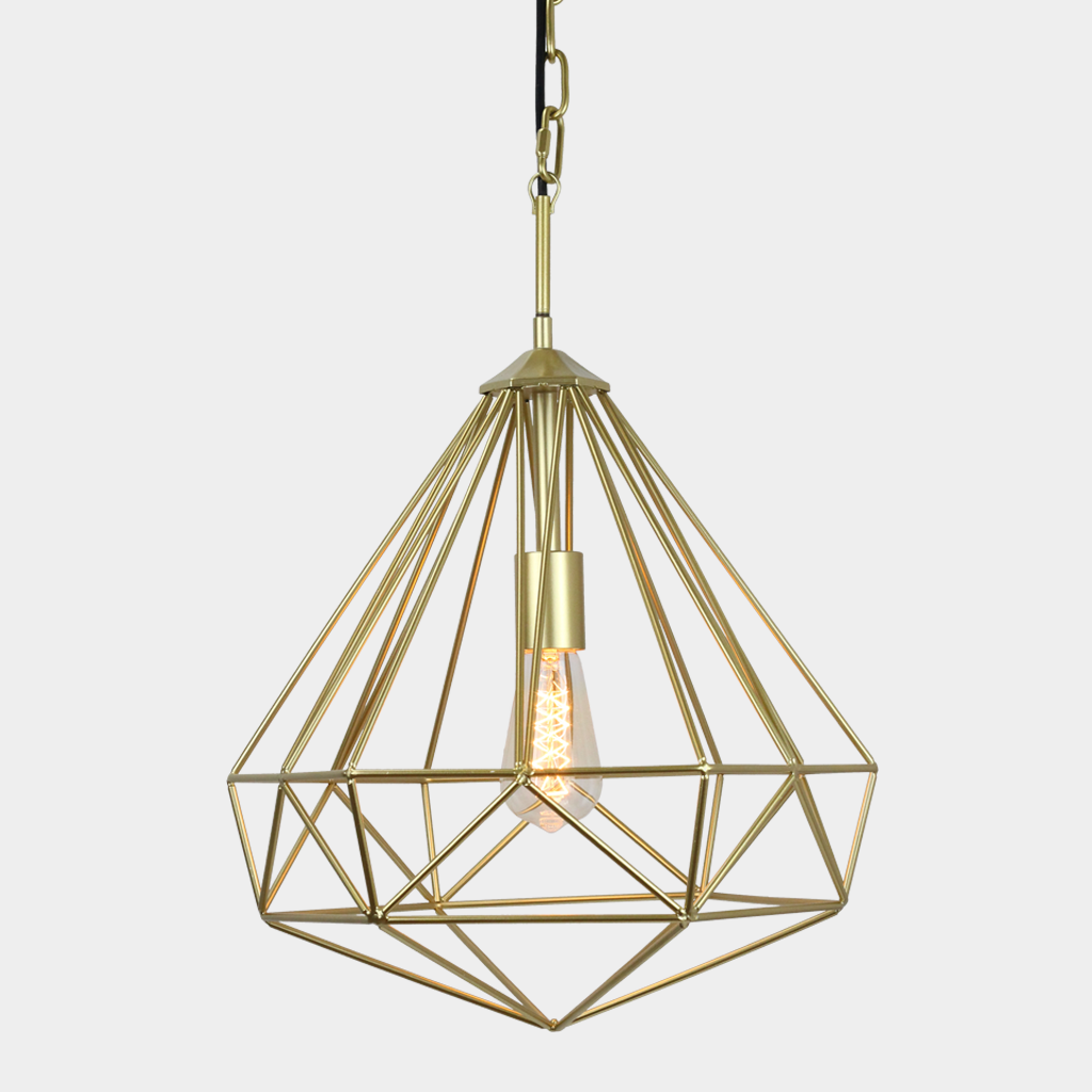 Chandeliers Pretty Gold Pendant Light: Chandelier Diamond Cage Pendant Light  Byu2026
