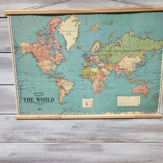 Vintage world map chart poster and hanger kit my memories