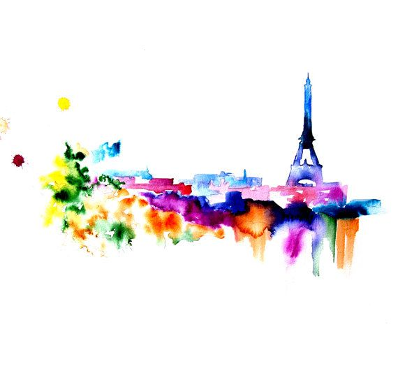 Eiffel Tower Paris - Abstract Watercolor Painting - Art Print 13X19 on Etsy, $45.00