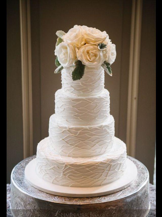A beautiful buttercream wedding cake