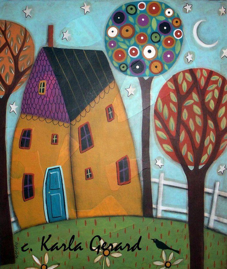 KG - HOUSE TREES AND DAISIES Rug Hooking Pattern - Karla Gerard Folk ...