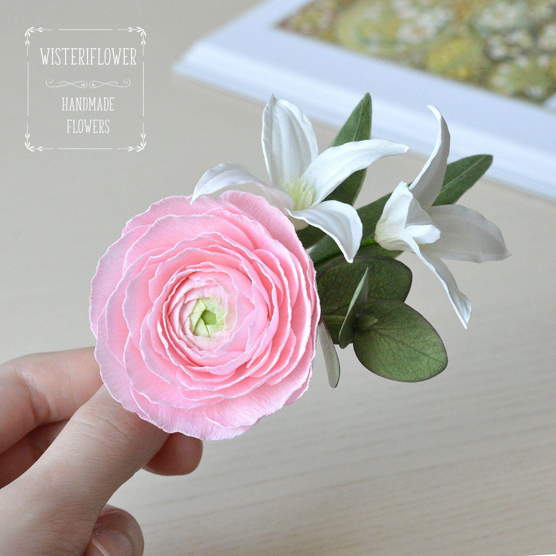 Eucalyptus Wedding Hair Clip Pink Wedding Floral Hair Ranunculus