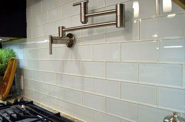 White glass subway tile design kitchen backsplash also pinterest