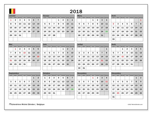 calendrier 2018 belgique calendriers imprimer gratuits pinterest calendar 2019. Black Bedroom Furniture Sets. Home Design Ideas