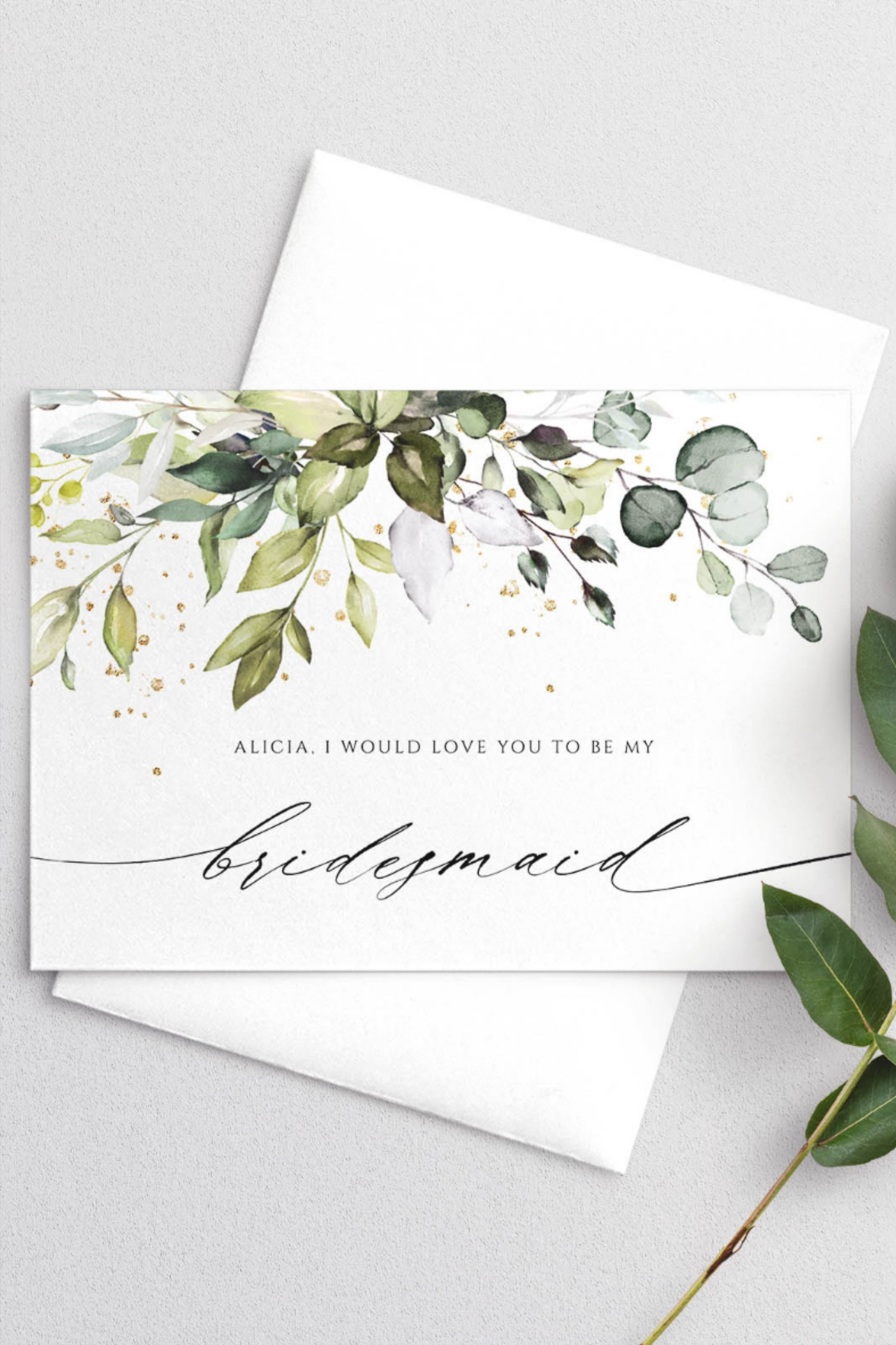 Bridesmaid Proposal Template Card Greenery Maid Of Honor Proposal Template Printable Bridesmaid Card Instant Donwload