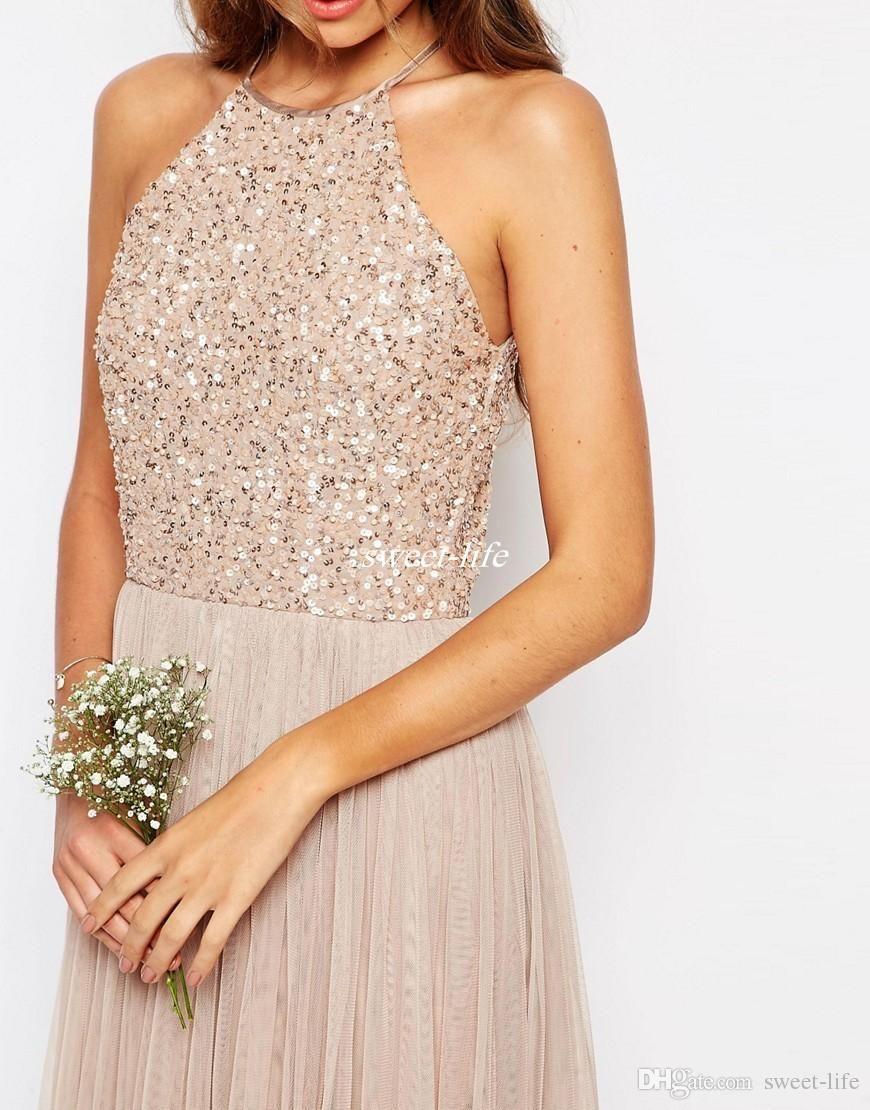 Long bridesmaid dresses rose gold sequins mermaid short sleeves high