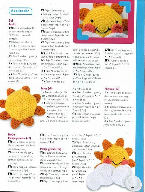 Sol y Nube Amigurumi Patrón Gratis | aprendiendo crochet | Pinterest ...