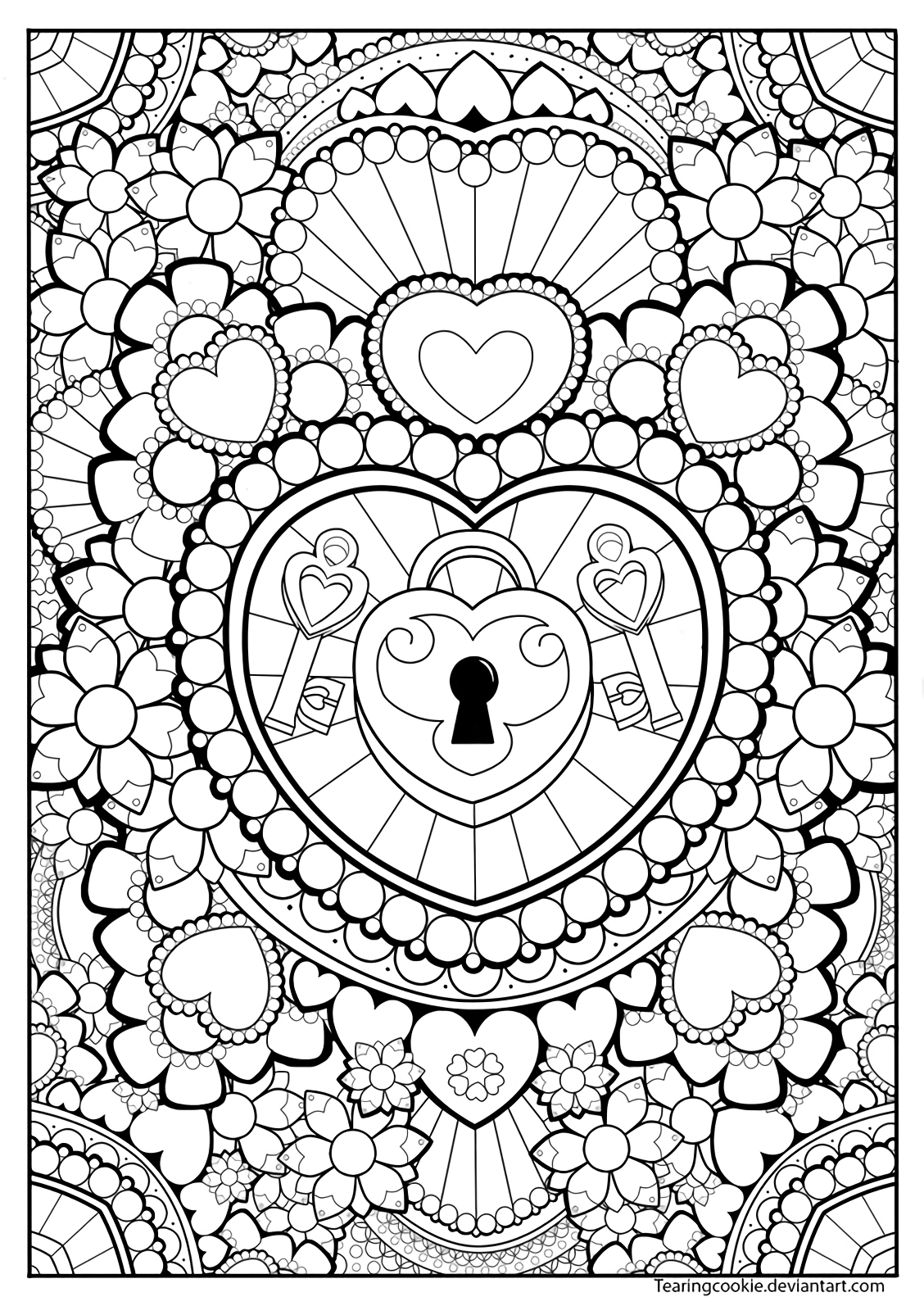 Lock Hearts Coloring Page   coloring pages   Pinterest   Adult ...