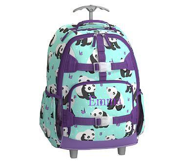 Mackenzie Aqua Panda Backpack Backpacks Kids Rolling