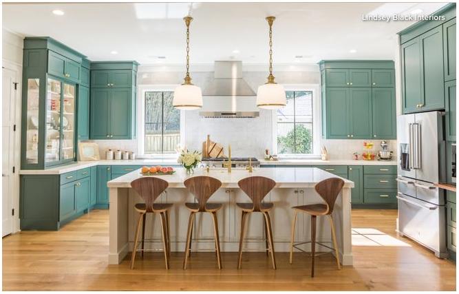 Green Kitchen Houzz Kitchen Remodel Kitchen Design New Kitchen Designs