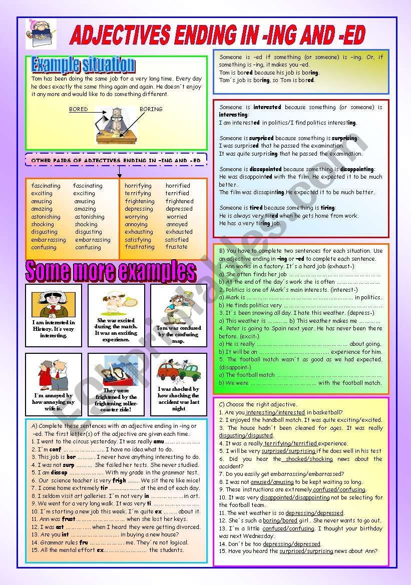 Adjectives Ending In Ing And Ed Esl Worksheet By Peitieiros En