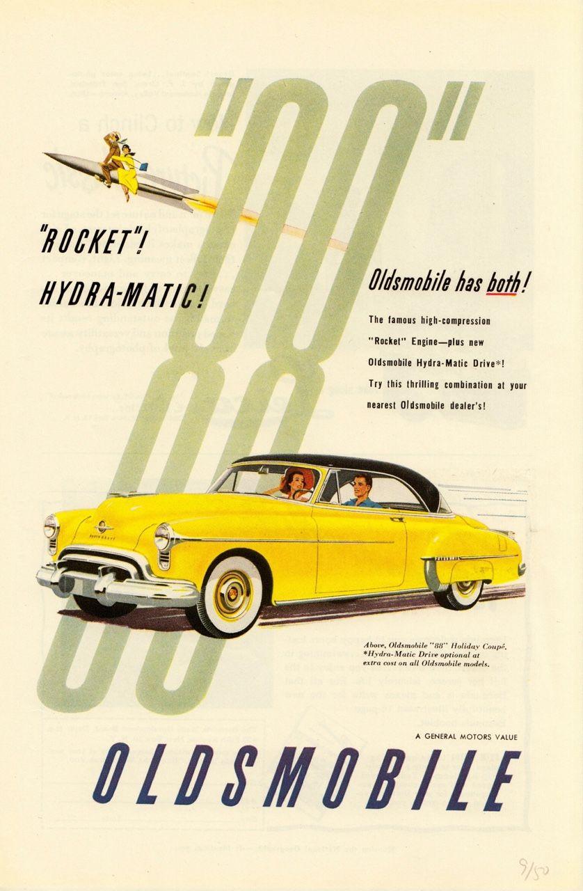 Hydra-Matic Yellow Vintage Print Ad Rocket 1950 Oldsmobile 88