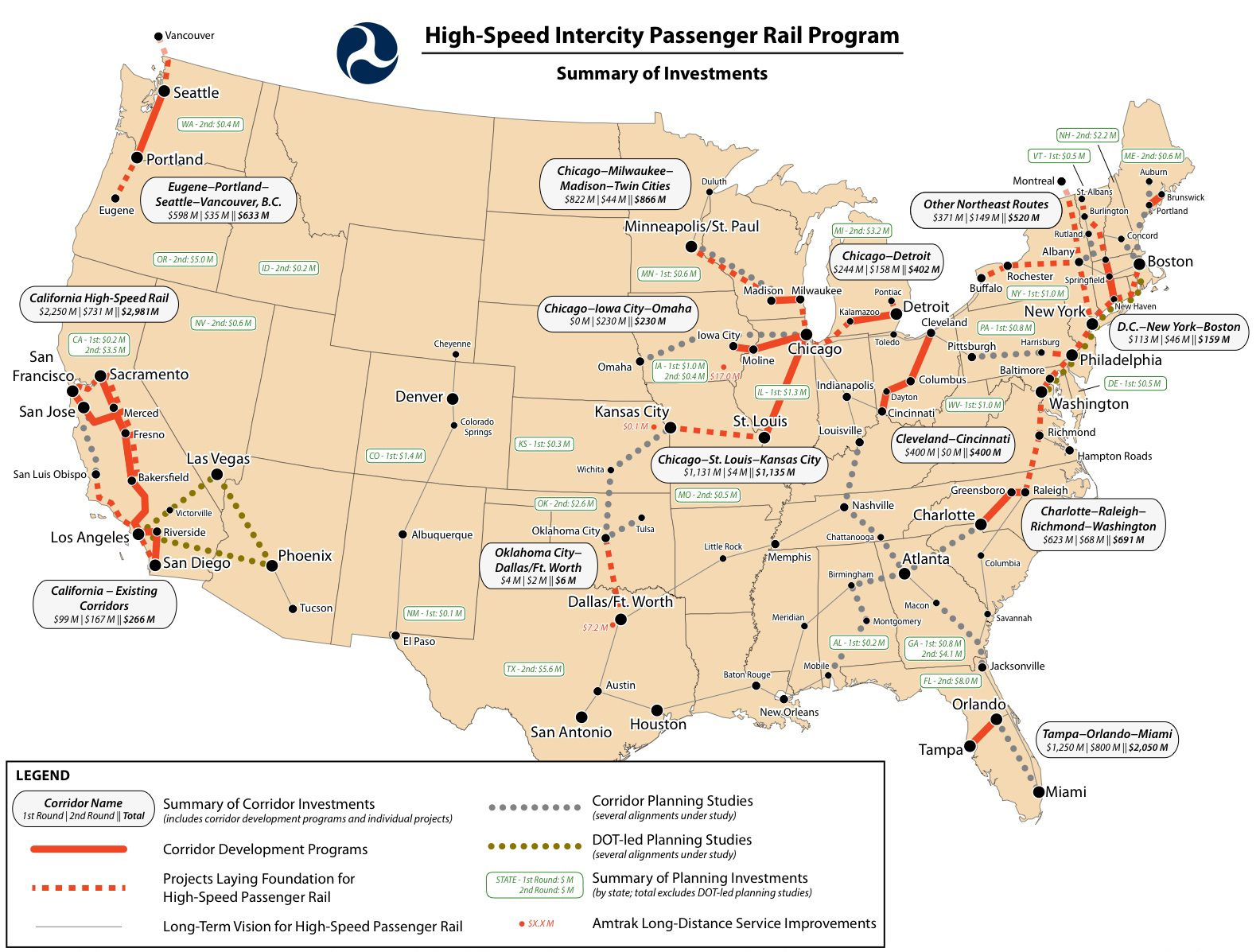 Us Hsr Network Plan Infrastructure Of China High Speed Rail - Map-of-us-rail-network