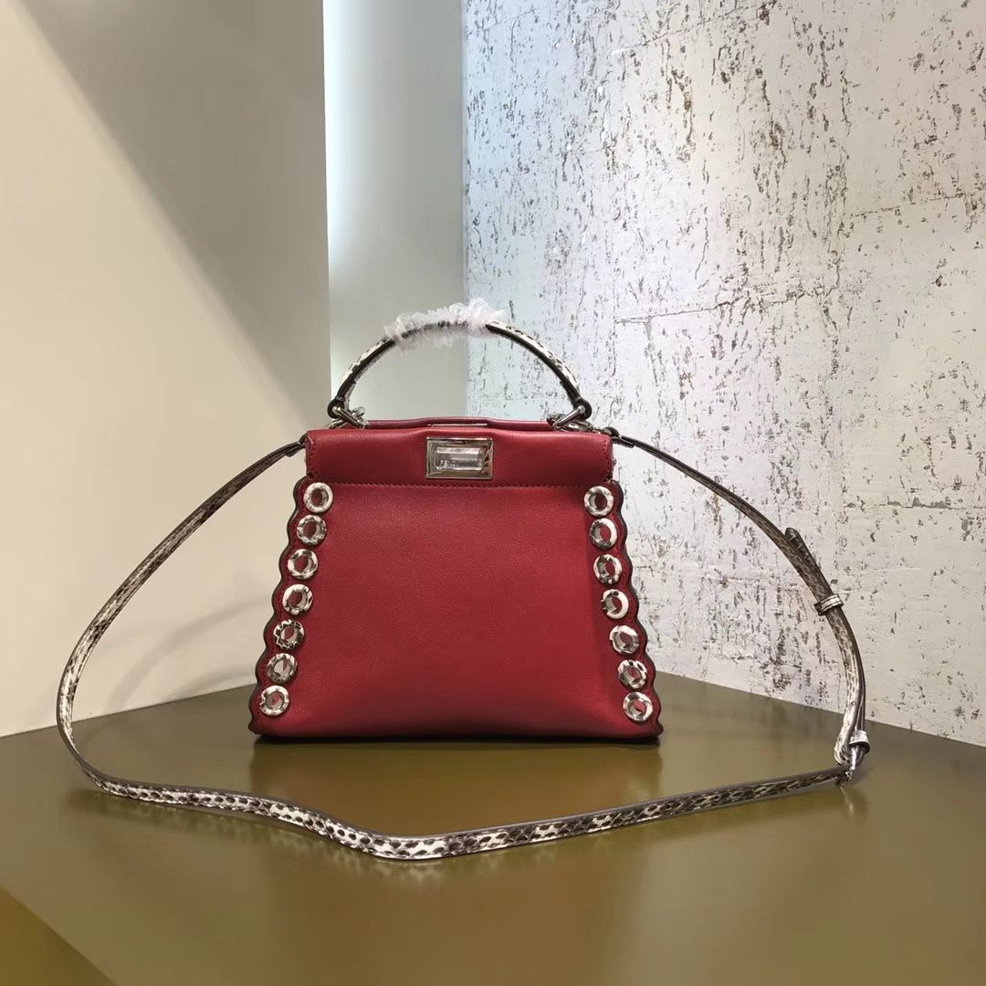 bd02e13797 Fendi Leather Elaphe With Grommets Small Peekaboo Bag Red 2017 ...