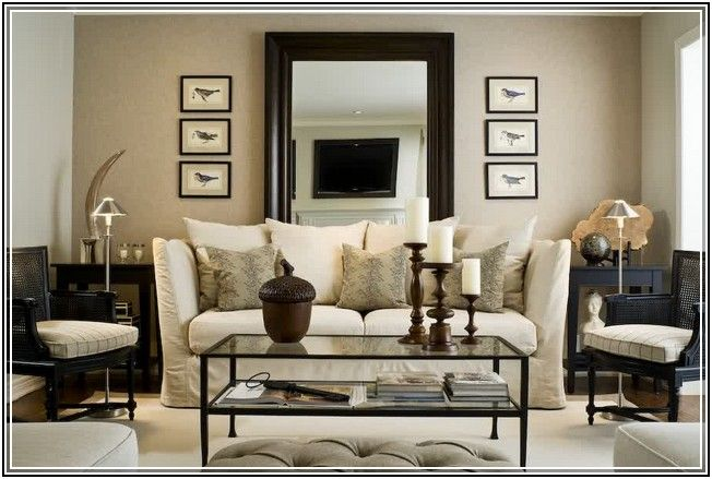 Decorating With Large Mirrors Living Room French Country Style Over Sofa Inside Wall In