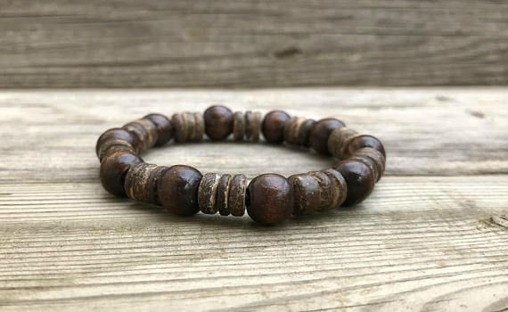 Men Wood Bracelet Mens Wooden Beaded Stretch Brown Woodbracelet Naturaljewelry Woodenwristband