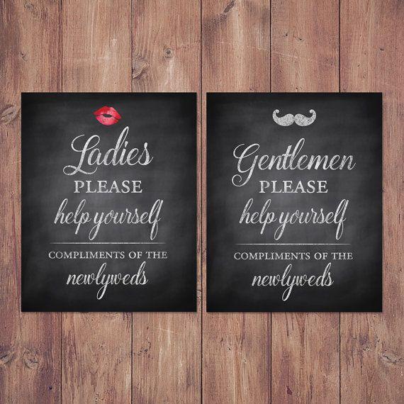 Wedding Bathroom Basket Signs