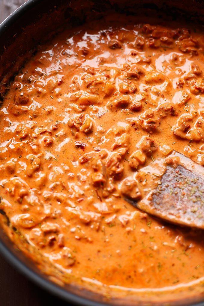 Rote Linsen Pasta mit cremigster Getrocknete Tomaten-Sauce - Kochkarusell #foodporn