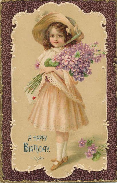 Старые винтажные открытки с днем рождения, открытка дочери