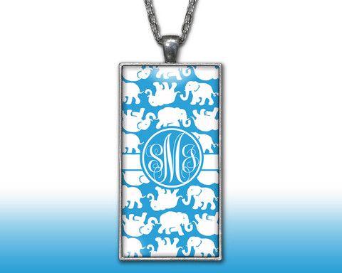 Elephants Blue Monogram Pendant Charm Necklace Personalized Custom Silver Plated Jewelry