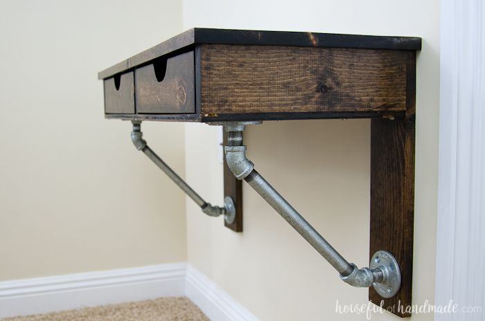 Easy Rustic Industrial Wall Mounted Desk Build Plans Wall