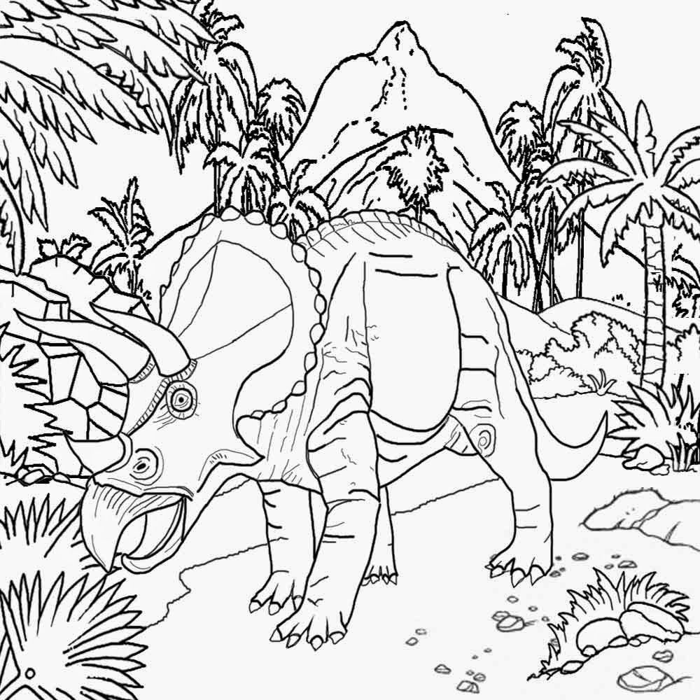 Volcanic Land Strong Armor Frills And 3 Horned Triceratops Dinosaur Coloring Activity Preschool Kids Dinosaur Coloring Pages Dinosaur Coloring Coloring Pages