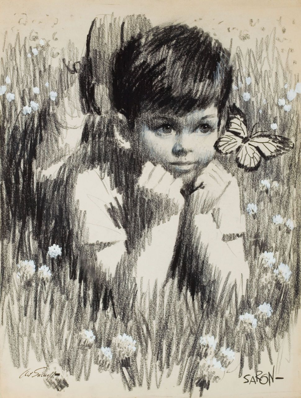 Boy slaying in grass looking at a butterfly pencil stroke drawing