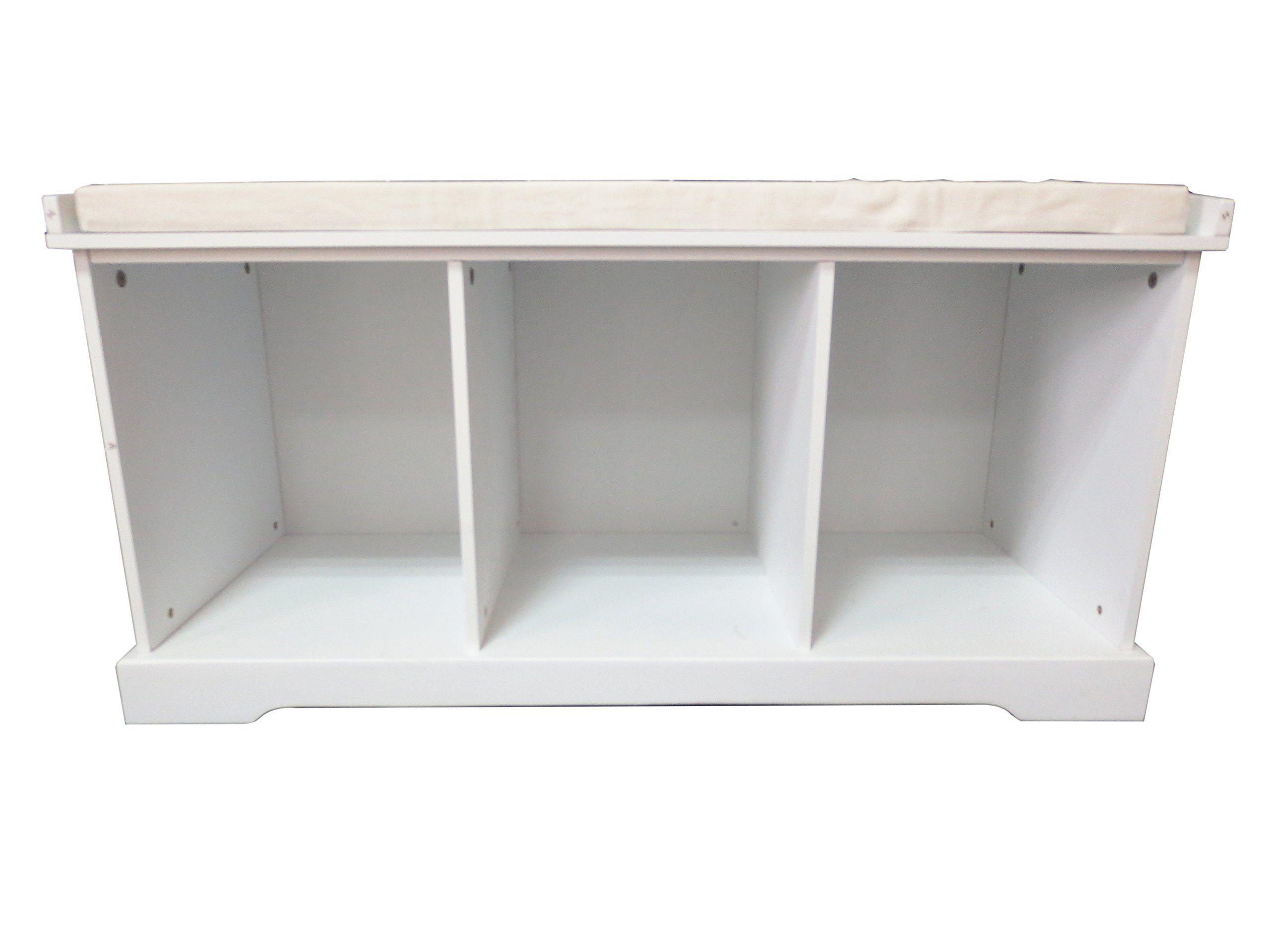 Amazon.com: Inskeppa White Entryway Storage Bench   Cubby Hole Design:  Furniture U0026