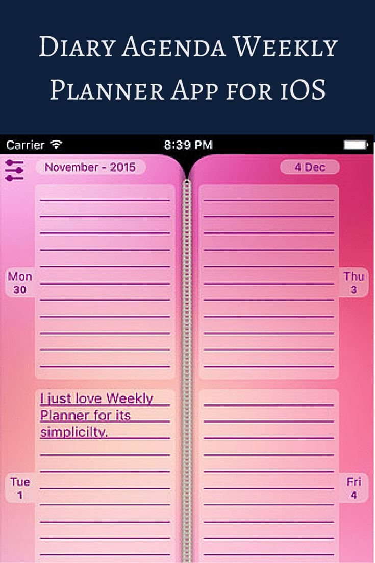 Plan Your Activities With Diary Agenda Weekly Planner App For Ios