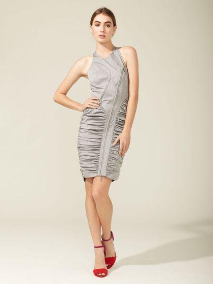 Sleeveless Ruched Zipper Dress by Vera Wang