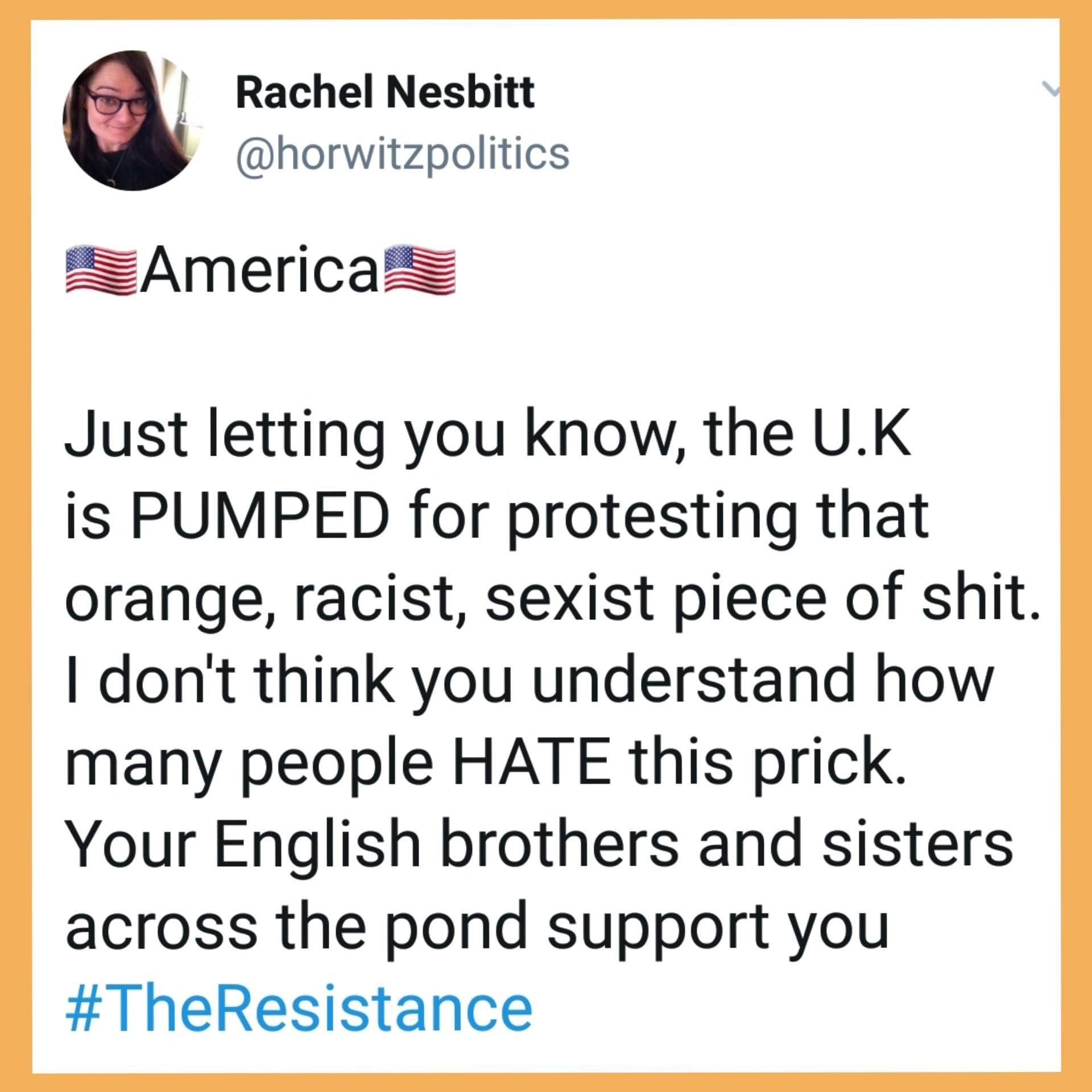 Thank you, Rachel. Most of America hates him also.