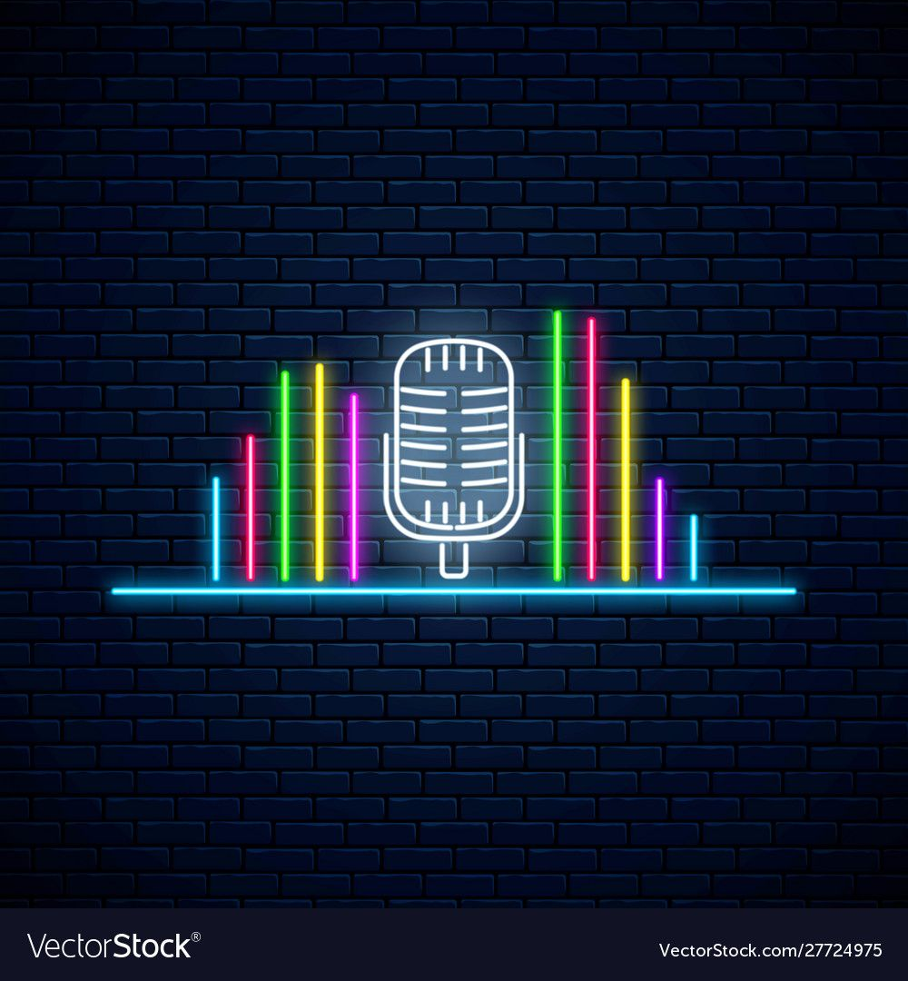 Neon microphone symbol with band equalizer with vector