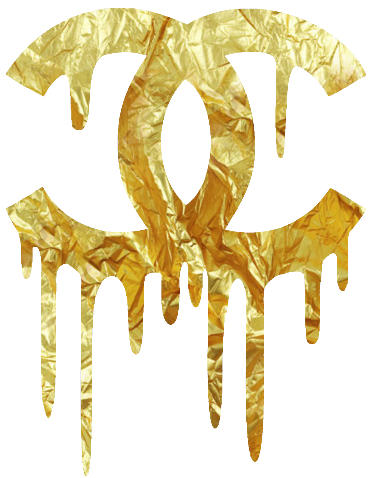 chanel dripping gold logo typography graphic