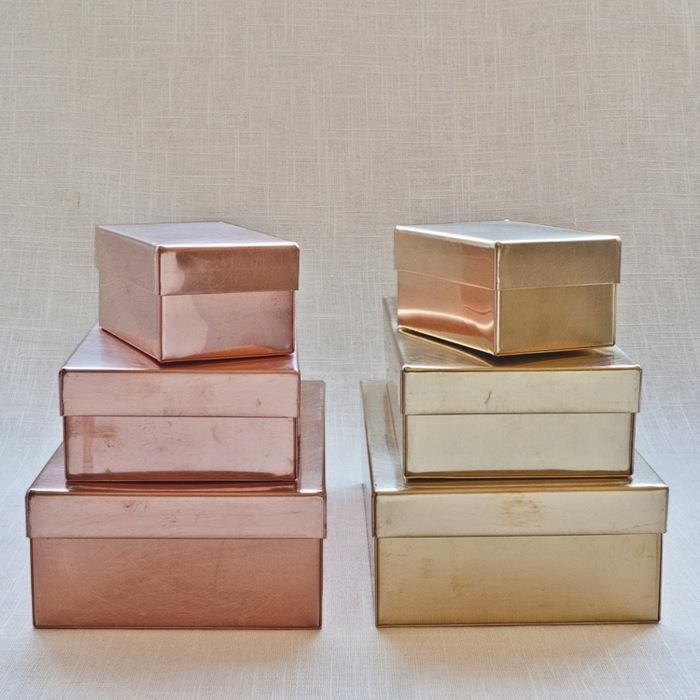 gold and rose gold boxes - so fun