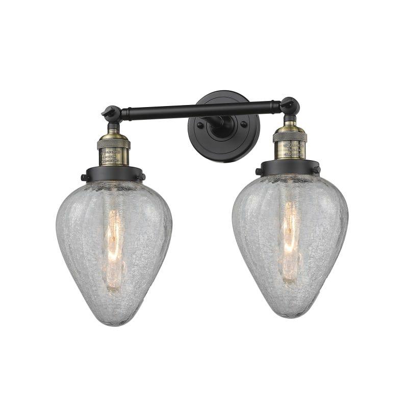 Photo of Innovations Lighting 208 Geneseo Geneseo 2 Light 17″ Wide Bathroom Vanity Light Black Antique Brass / Clear Crackle Indoor Lighting Bathroom Fixtures