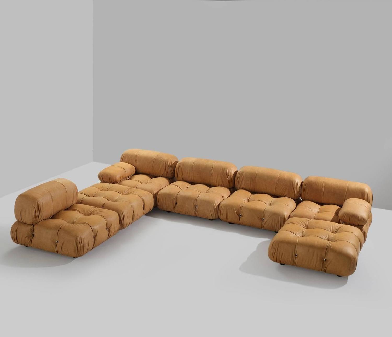 Mario Bellini Sectional Camaleonda Sofa In Cognac Leather