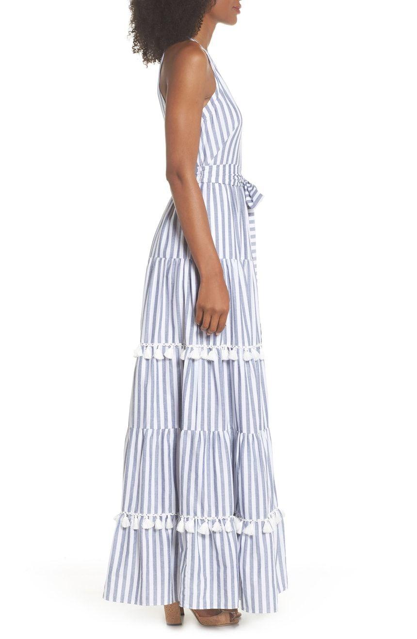 Eliza j tiered tassel fringe cotton maxi dress regular u petite