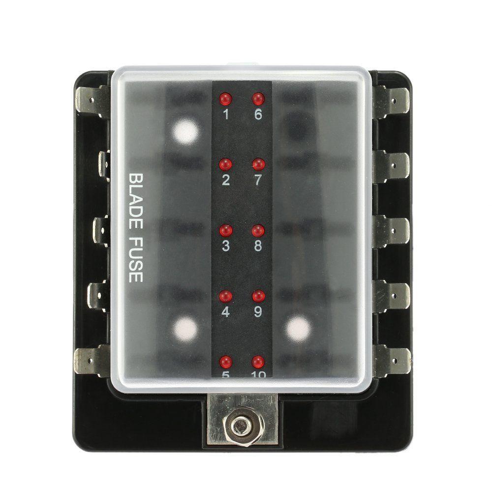 medium resolution of kkmoon 10 way blade fuse box holder with led warning light kit for car boat marine trike 12v 24v amazon co uk car motorbike