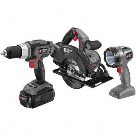 porter cable power tool 18 volt ni-cad 3-piece tool combo kit porter ...