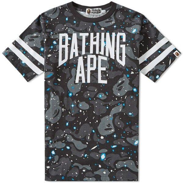 aqua and camo a bathing ape space camo nyc logo tee black 189 liked on